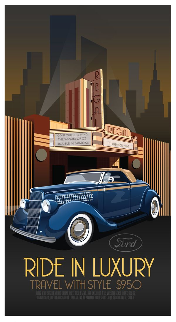 art deco car poster by derek walker via behance advertising pinterest. Black Bedroom Furniture Sets. Home Design Ideas