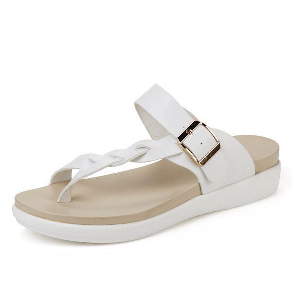 Big Size Women Beach Flat Sandals Buckle Clip Toe Flat Open Heel Flip Flops Sand - US$28.34