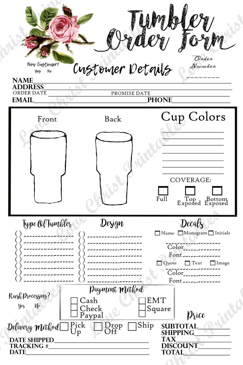 Tumbler Order Form Order Form Tumbler Order Form Template Etsy In 2021 Fonts Quotes Tumbler Order Form Template