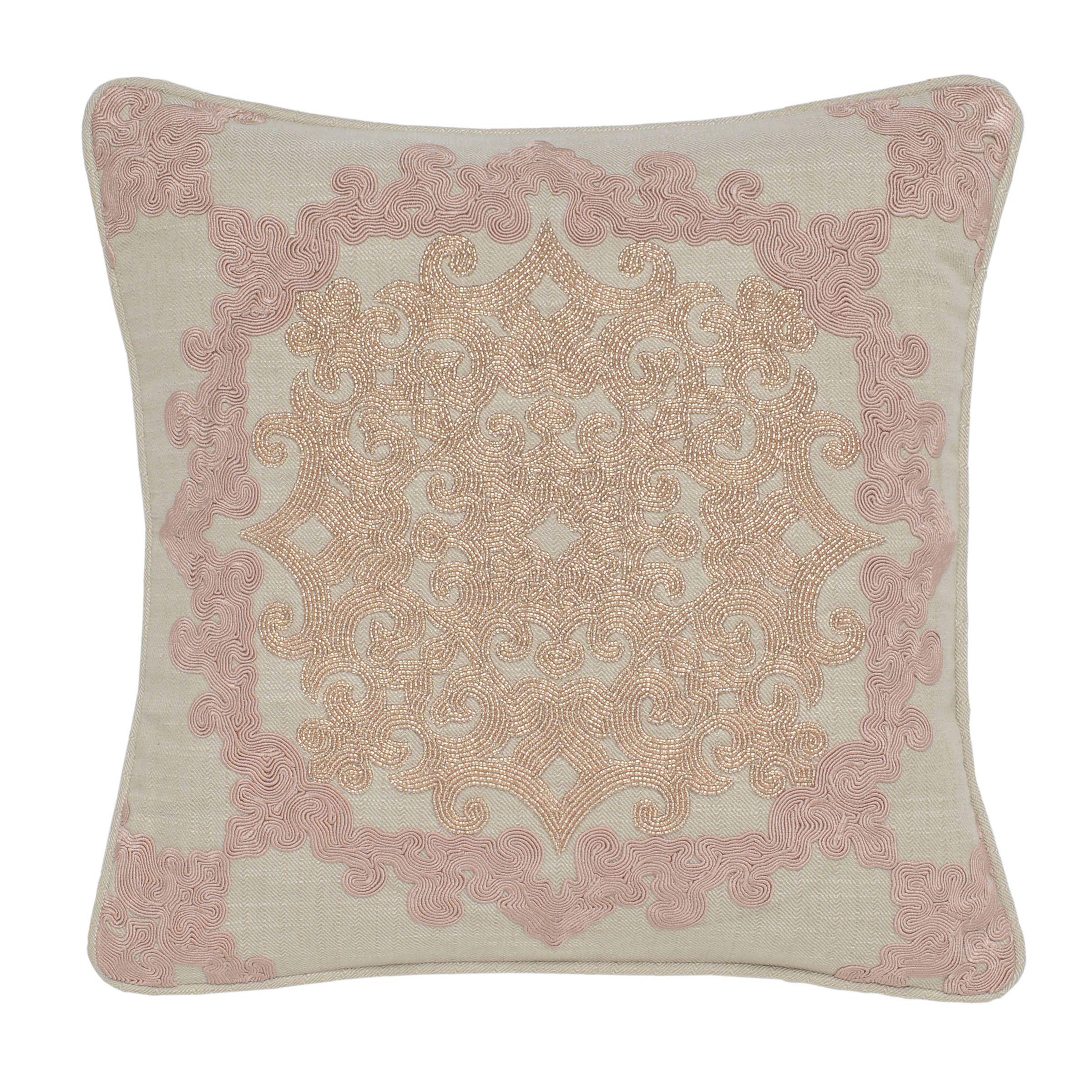 Kosas Home Vivian Pink Blush Cotton Hand Beaded 18 Inch Square