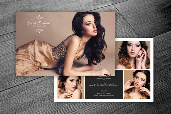 Modeling Comp Card Template Fashion Model Comp Card Photoshop - Model comp card template