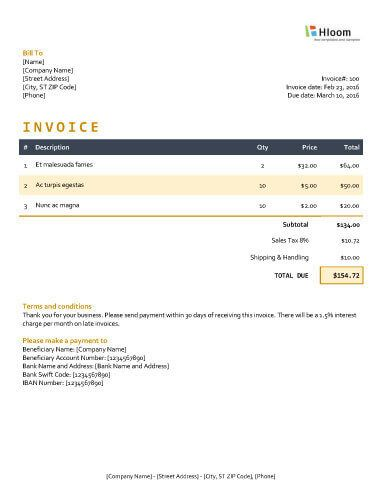 Moonlight Invoice Template Word Invoice Templates Pinterest - invoice formats in word