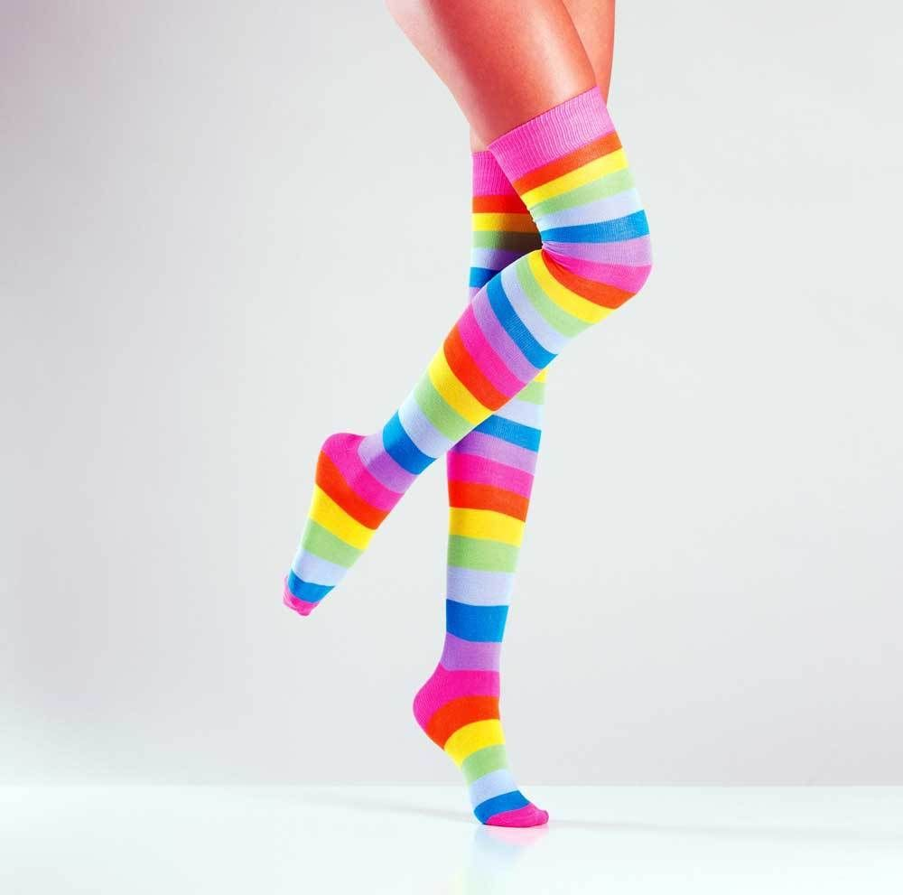 Women Lady Rainbow colorful Stripe Sheer Party Neon Long Socks Tights Stockings