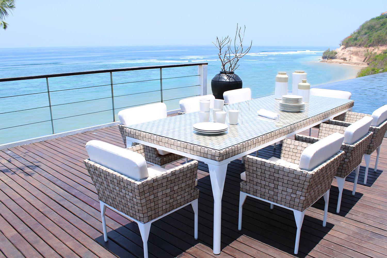 Skyline Brafta Alfresco Dining Table In White Wood Frame With
