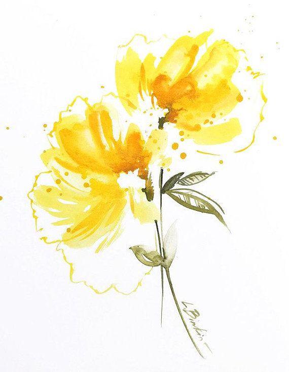 Watercolor Painting Yellow Wall Decor Original Painting