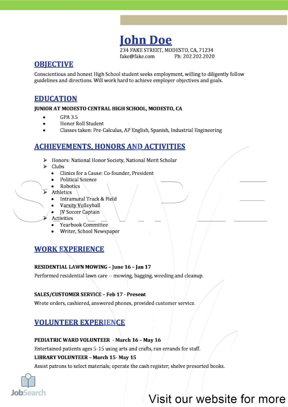 Resume For High School Students Resume For Example High School