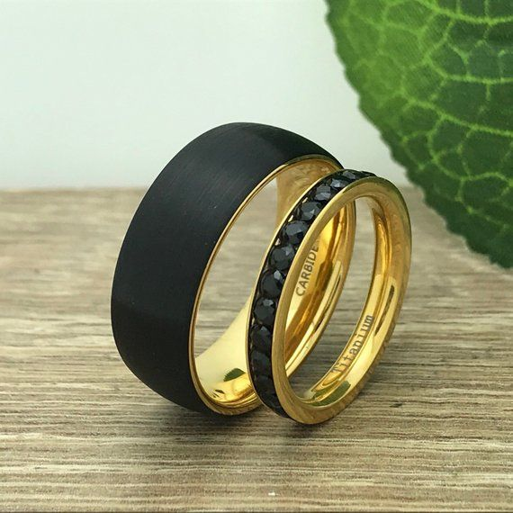 8mm 3mm His And Her Personalize Engrave Titanium Ring Black Etsy In 2020 Gold Plated Wedding Band Gold Diamond Wedding Band Titanium Rings For Men