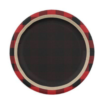 Rustic Red Black Buffalo Plaid Birthday Party Paper Plate  sc 1 st  Pinterest & Rustic Red Black Buffalo Plaid Birthday Party Paper Plate | Bridal ...