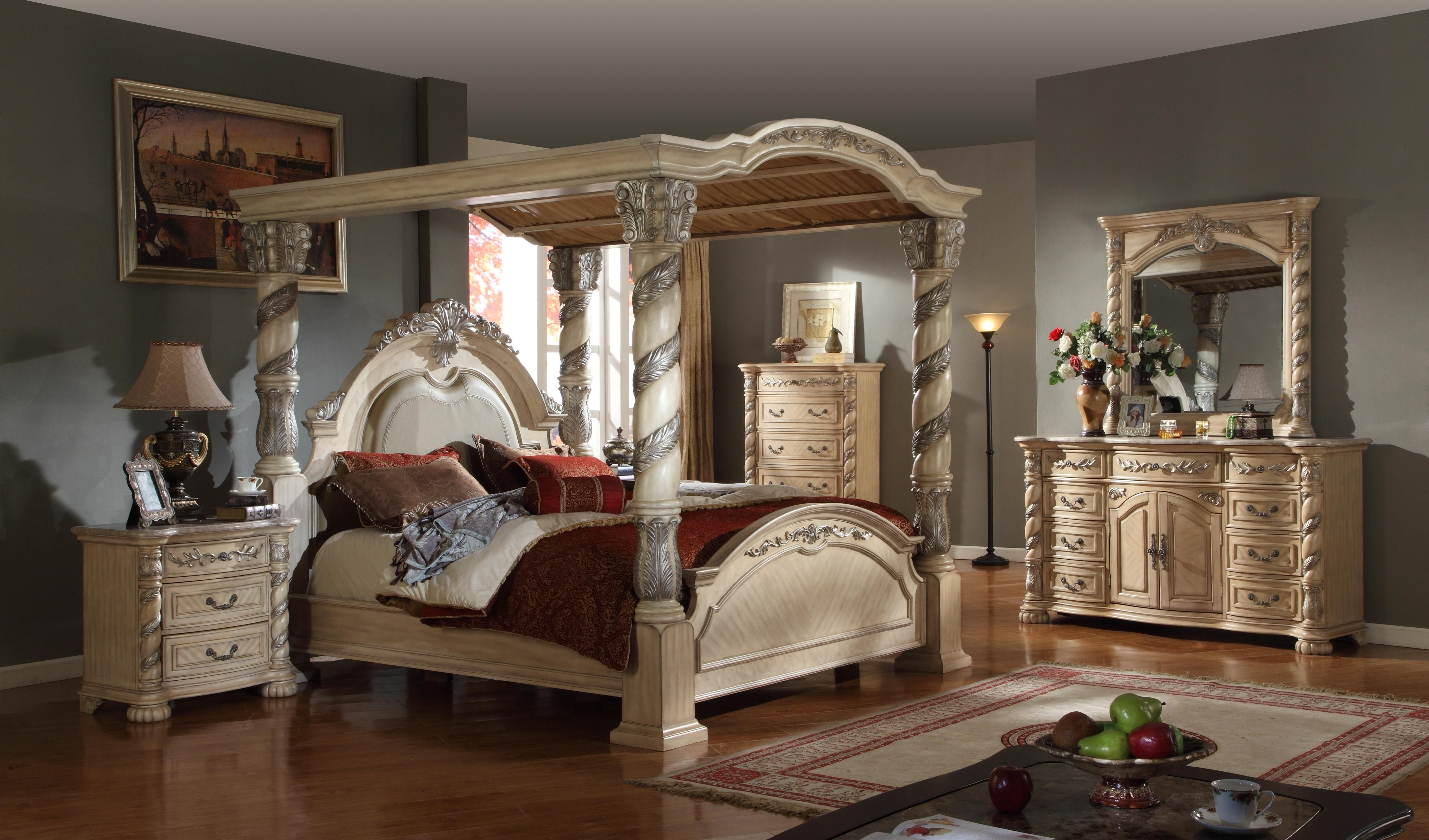 Classic Antique Style Cream Colored Canopy Bedroom Set