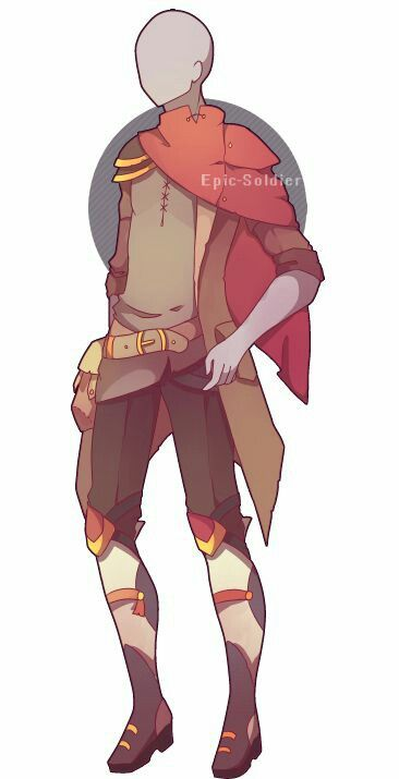 Male Female Scarf Red Jacket Fantasy Clothing Anime Outfits Drawing Clothes