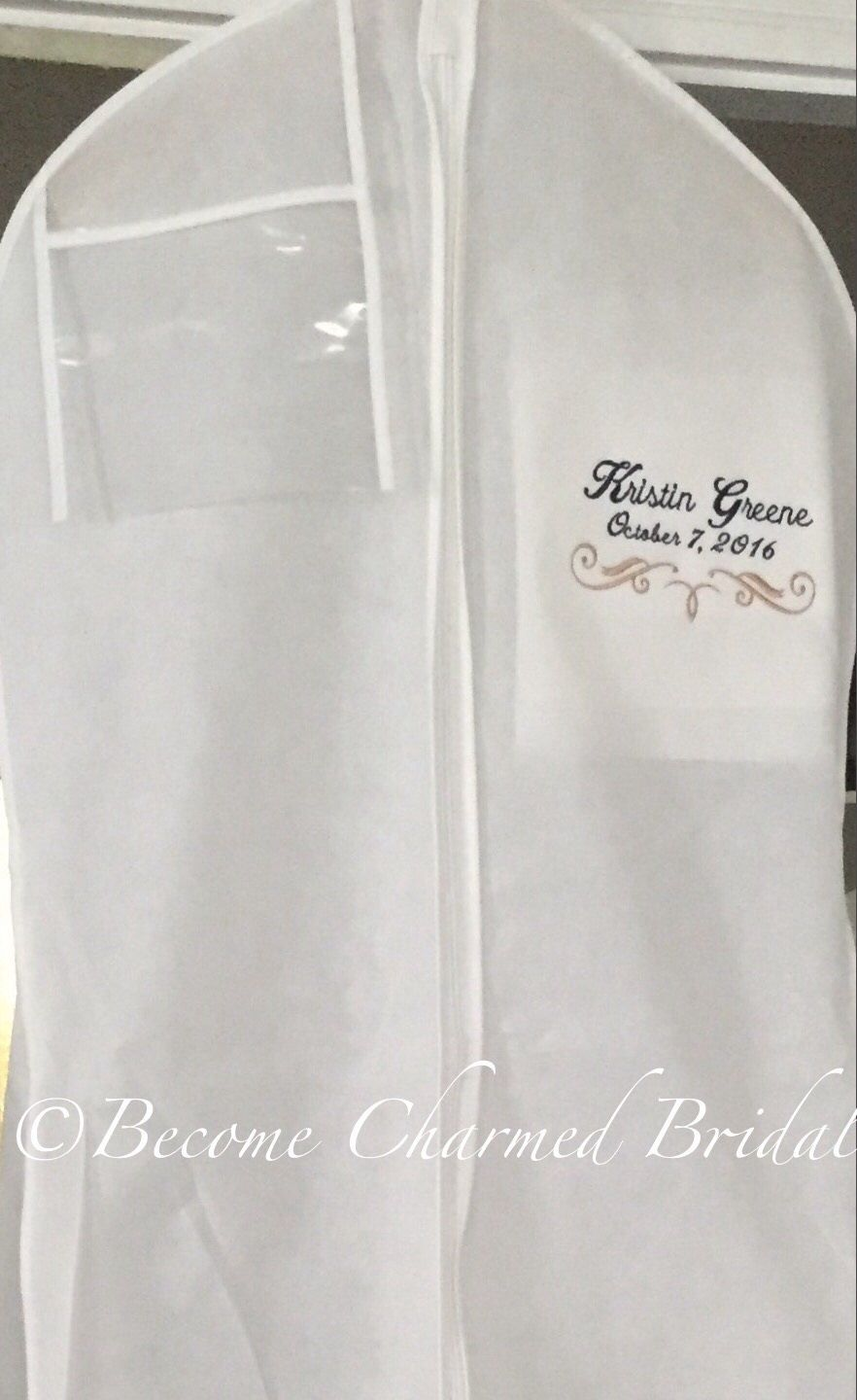 72 Embroidered Breathable Wedding Gown Dress Garment Bag Etsy Dress Garment Bags Personalize Bag Wedding Gown Preservation