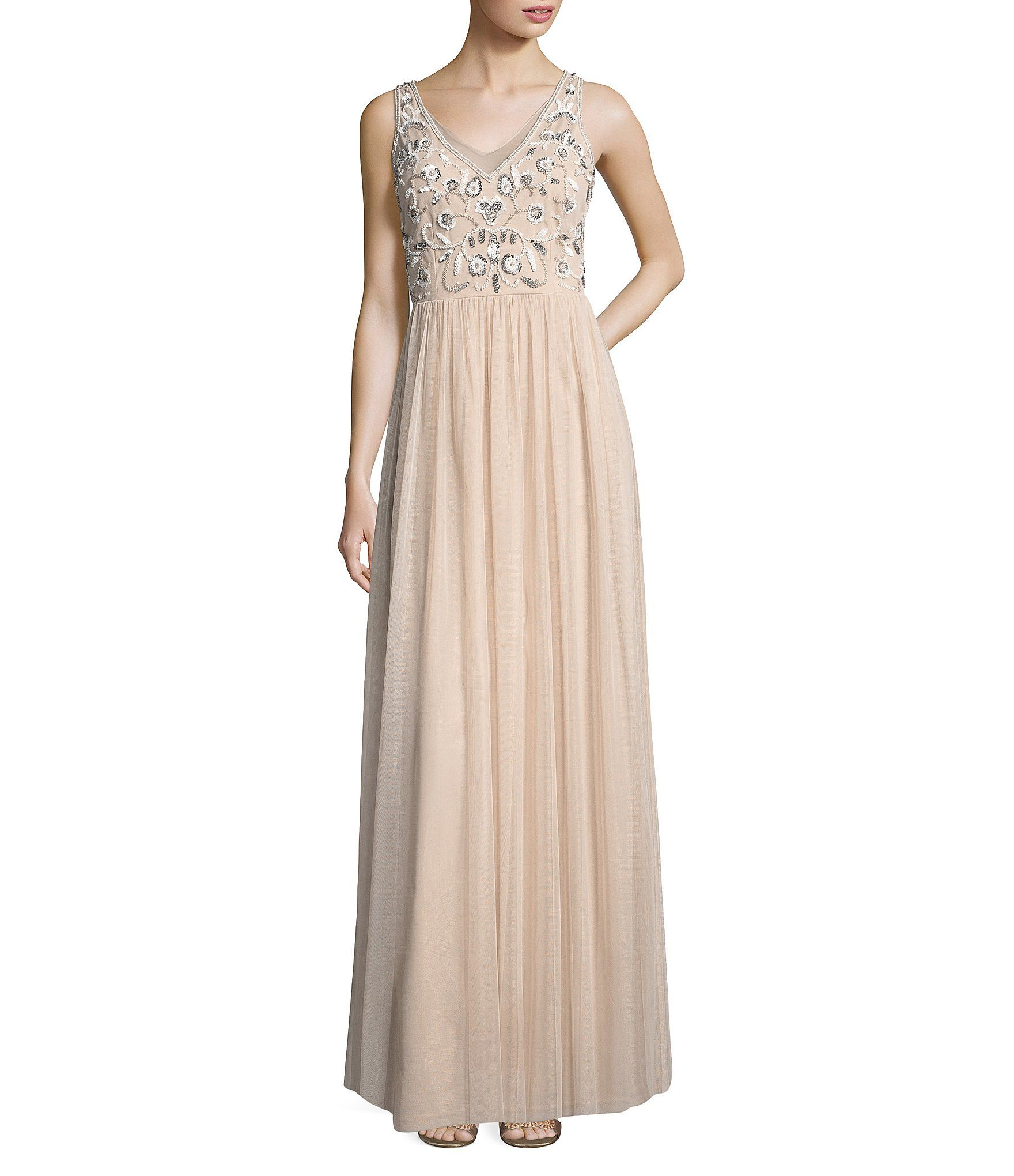 c081d74b878 Adrianna Papell Beaded Bodice Chiffon Long Dress  Dillards