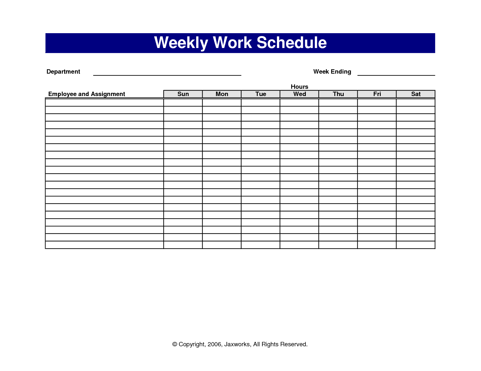 Pictures Of Sample Work Schedules  Scope Of Work Template  Work