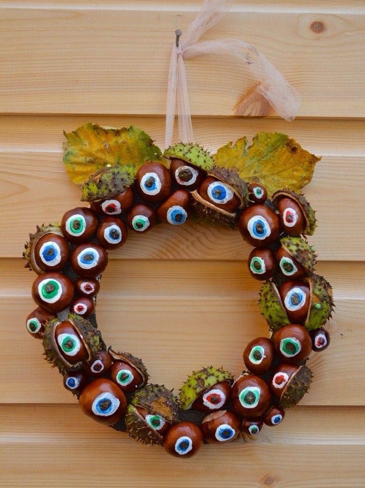 Kastanien Basteln Herbst Kranz Augenbälle
