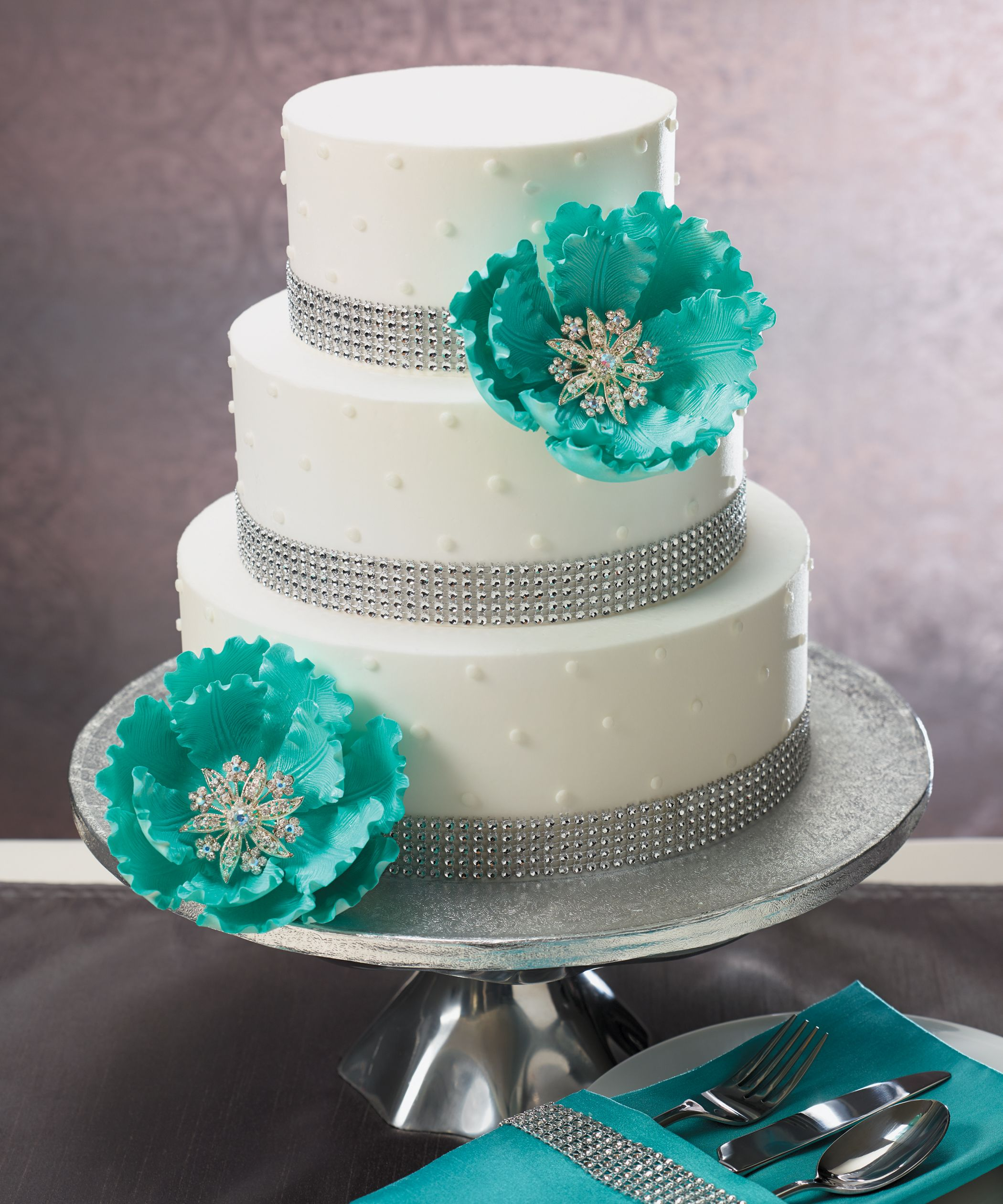 Sparkle Wedding Cake Featuring Gum Paste Peonies And Bling From