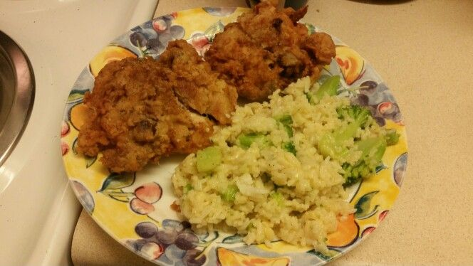 My Fried chicken and Rice& Broccoli