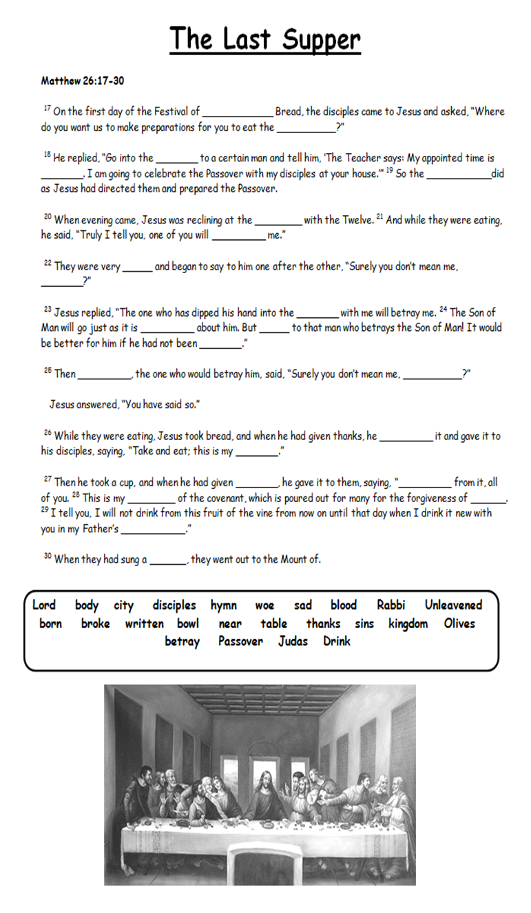 The Last Supper Fill In Blanks Activity Use Bible Passage To Find Answers