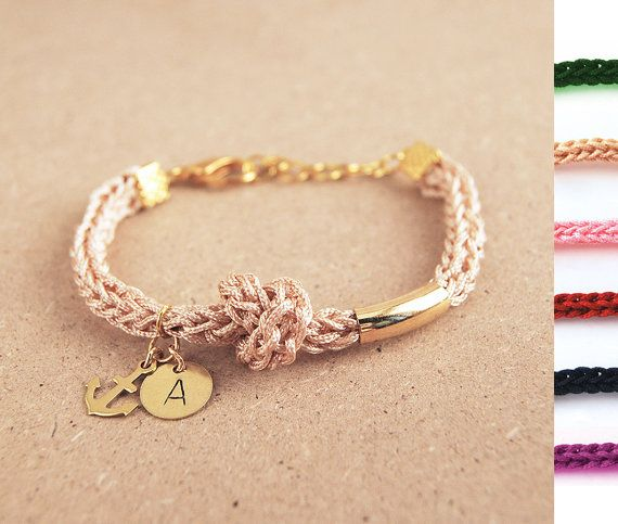 Lovely! Initial bracelet with anchor charm Personalized by LeiniJewelry, €13.90