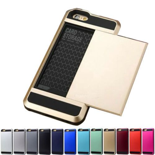 739b76a56afd Hard Armor Case Cover With Slide Card Slot Holder For iPhone 5S 6 6S ...