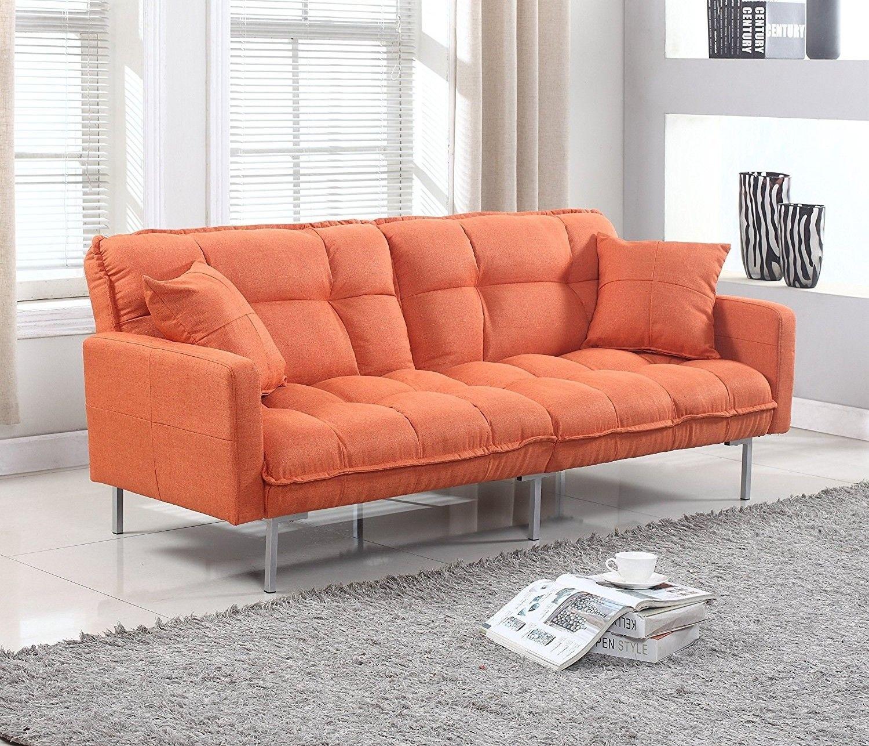 Sky Blue Modern Plush Tufted Splitback Living Room Small Space Futon Sofa