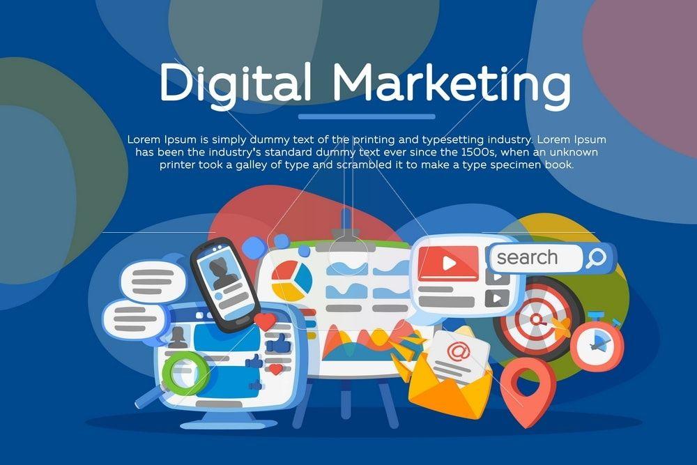 Digital marketing concept. Business development. Vector ...