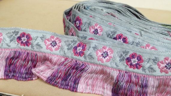 vintage 1960s woven French jacquard ribbon by ExquisiteThreads