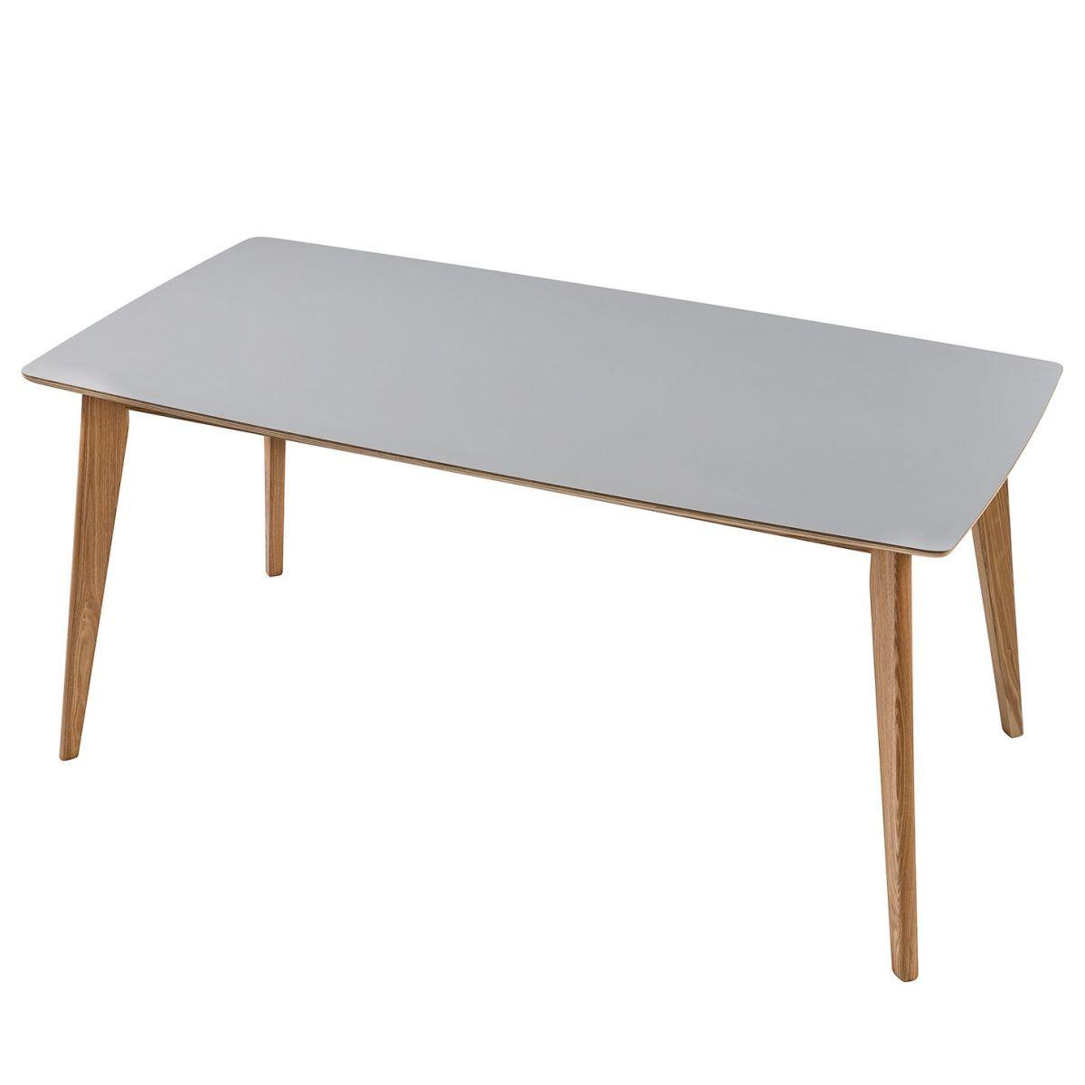 Esstisch Clochau - Esche teilmassiv - Grau / Esche - 160 x 80 cm ...