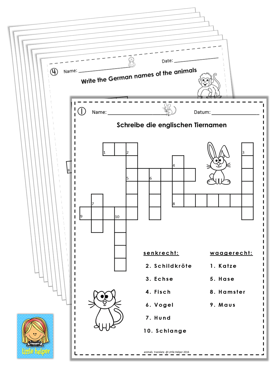 german english crossword puzzles tiere animals german english german words and english words. Black Bedroom Furniture Sets. Home Design Ideas