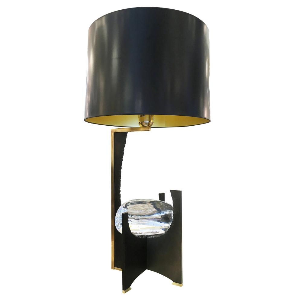 Galileo Black Iron And Glass Table Lamp Gaspare Asaro Italian Modern Italian Mid Century Modern Furniture And Lighting New York Ny In 2020 Glass Table Lamp Glass Table Large Table Lamps
