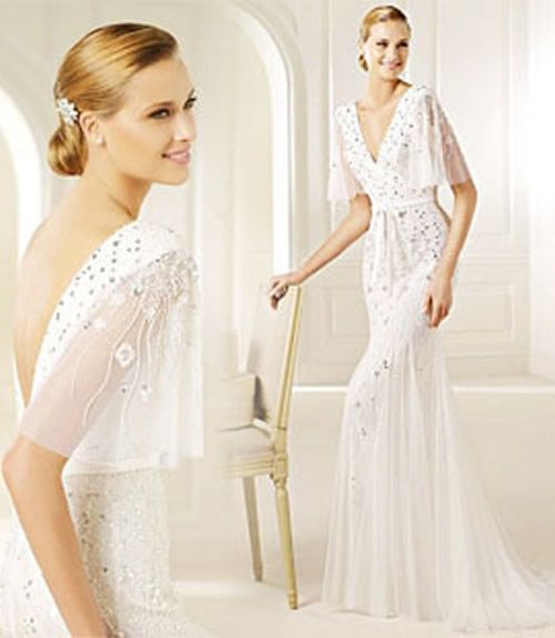 Top 20s Style V Neck Floor Length Wedding Dress With Short Sleev