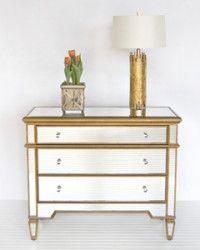 Three Drawer Gold Mirrored Chest