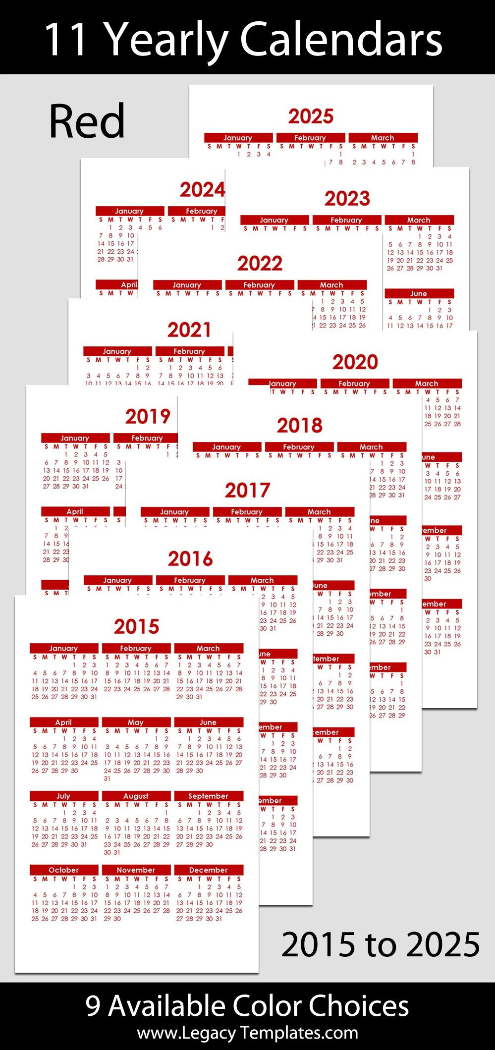 2015 to 2025 Printable Yearly Calendars - jr/half-letter size – 5 1 ...
