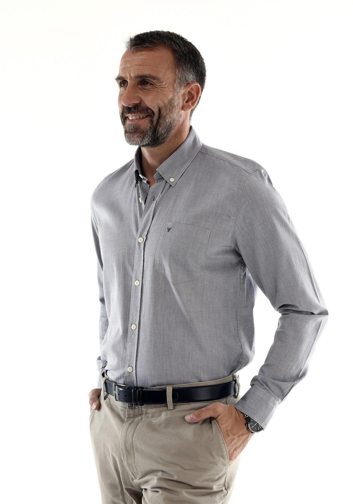 chemise mode homme classe grise oxford 100 coton style tendance printemps automne t hiver. Black Bedroom Furniture Sets. Home Design Ideas