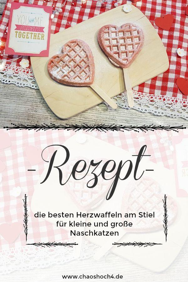 rosa Herzwaffeln am Stiel - nicht nur am Valentinstag ein Hingucker ...