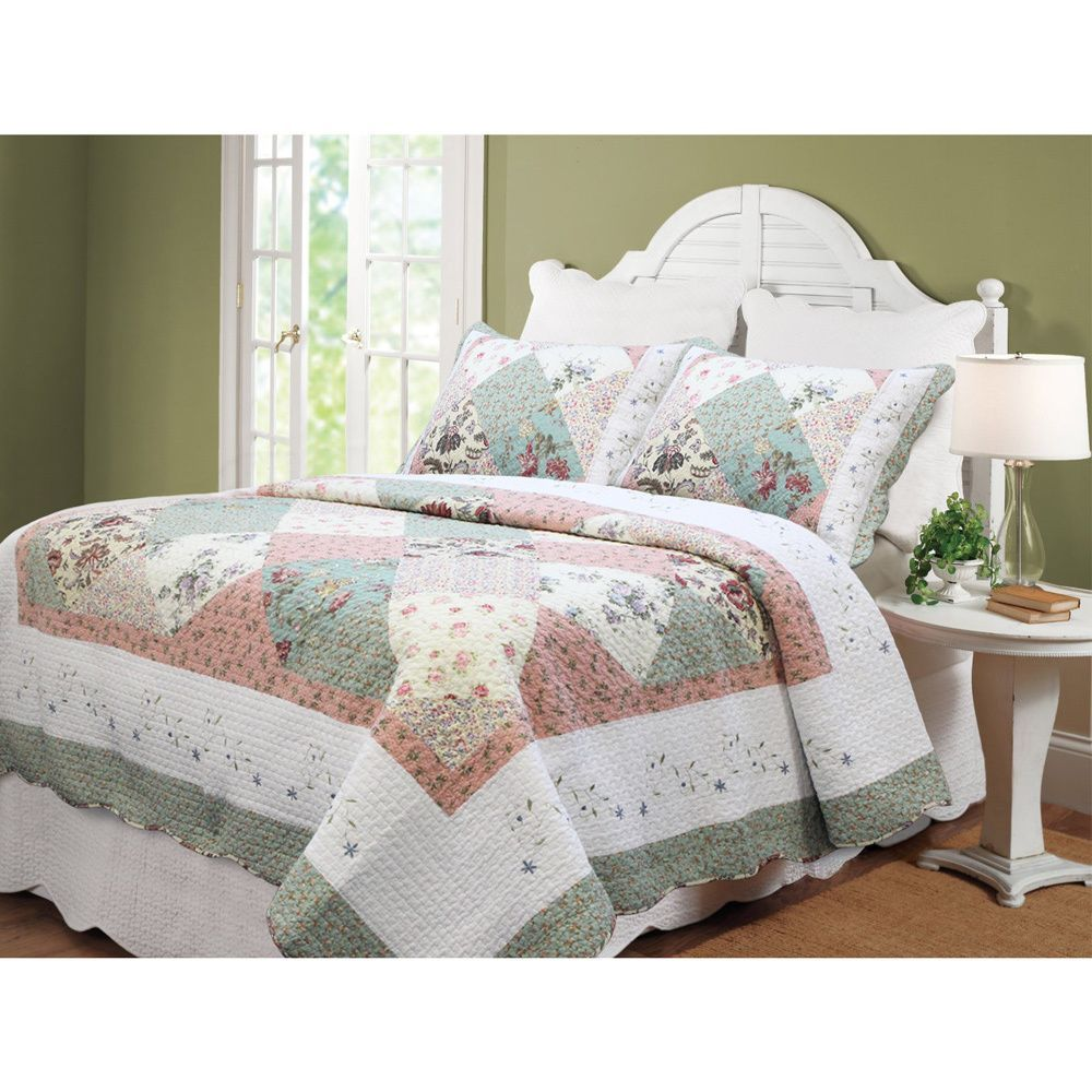 Celia Patchwork 3-piece Cotton Quilt Set - Overstock™ Shopping - Great Deals on Quilts