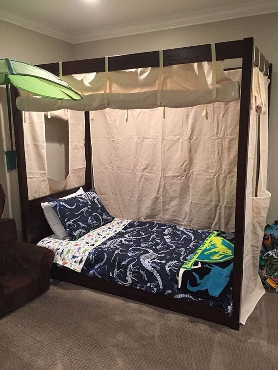 Items similar to Twin Size Canvas Bed Enclosure Tent- Boys or Girls Canopy Bed Drapery Curtain C& Bedding Roll-up Lodge Decor C&ing Safari Cottage on ... & Twin Size Canvas Bed Enclosure Tent - Kids Canopy for boys or ...