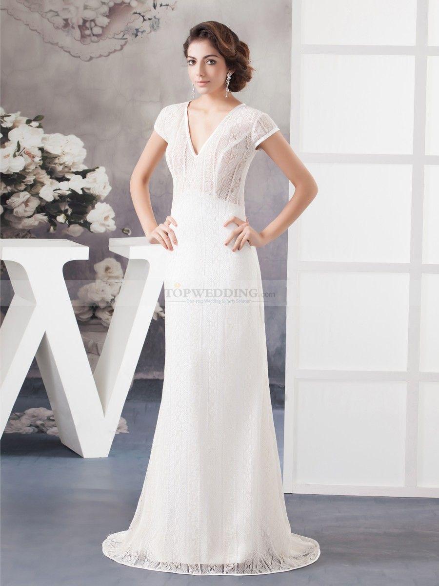 Patterned Lace V Neck Short Sleeve Sheath Wedding Dress