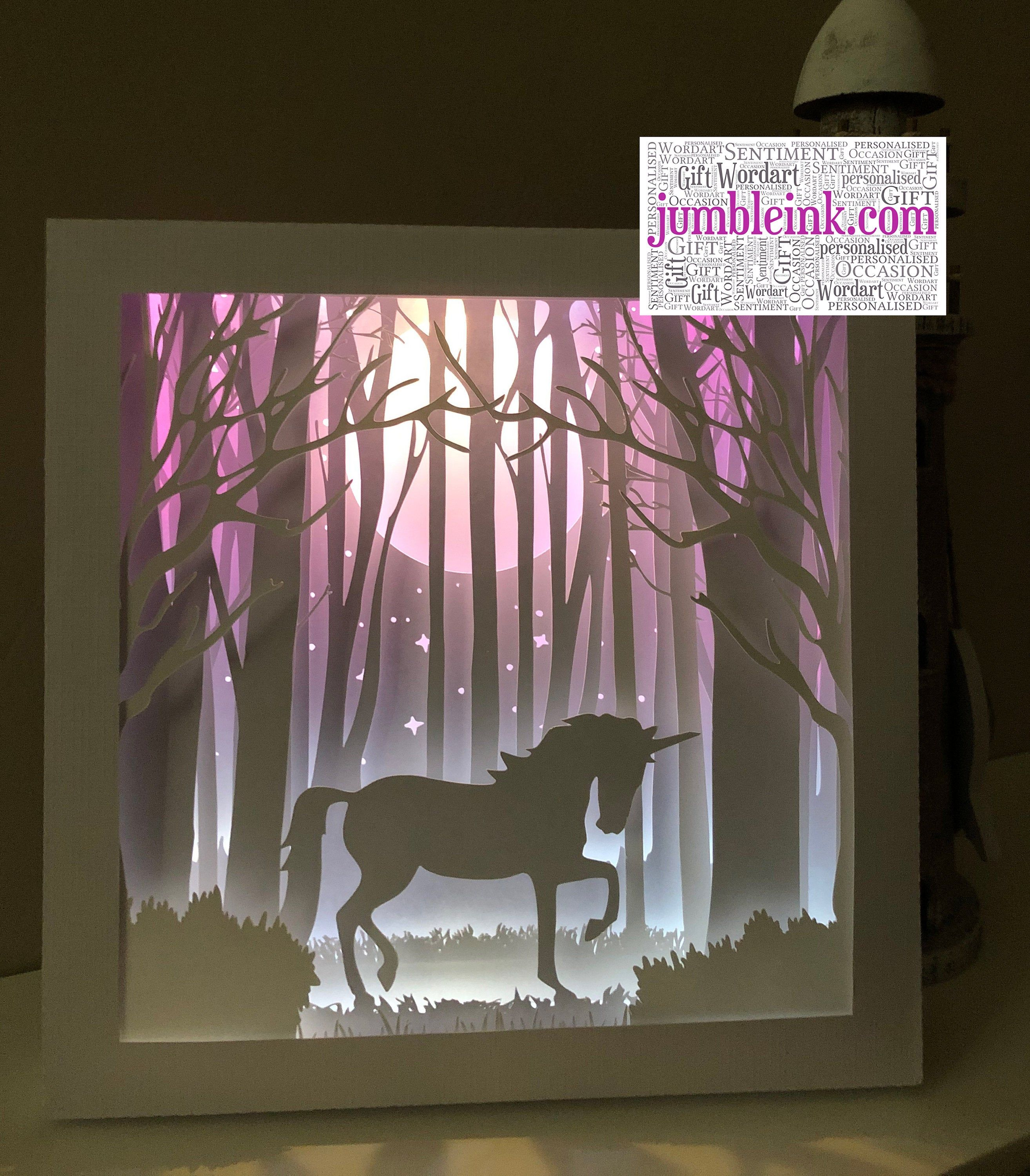 Photo of Unicorn in the Woods – 3D Paper Cut Template Light Box SVG Digital Download Files