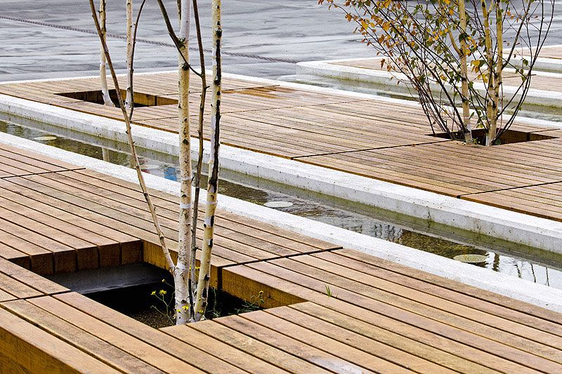 City Square Developing in Luxembourg Designed by AllesWirdGut: Wooden deck with trees, City Square Developing