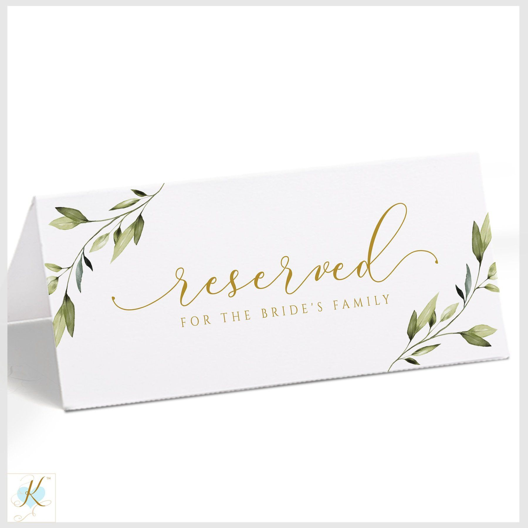 Reserved Signs Template Tent Ethereal Greenery Large Templett Sign Templates Reserved Signs Nature Themed Wedding