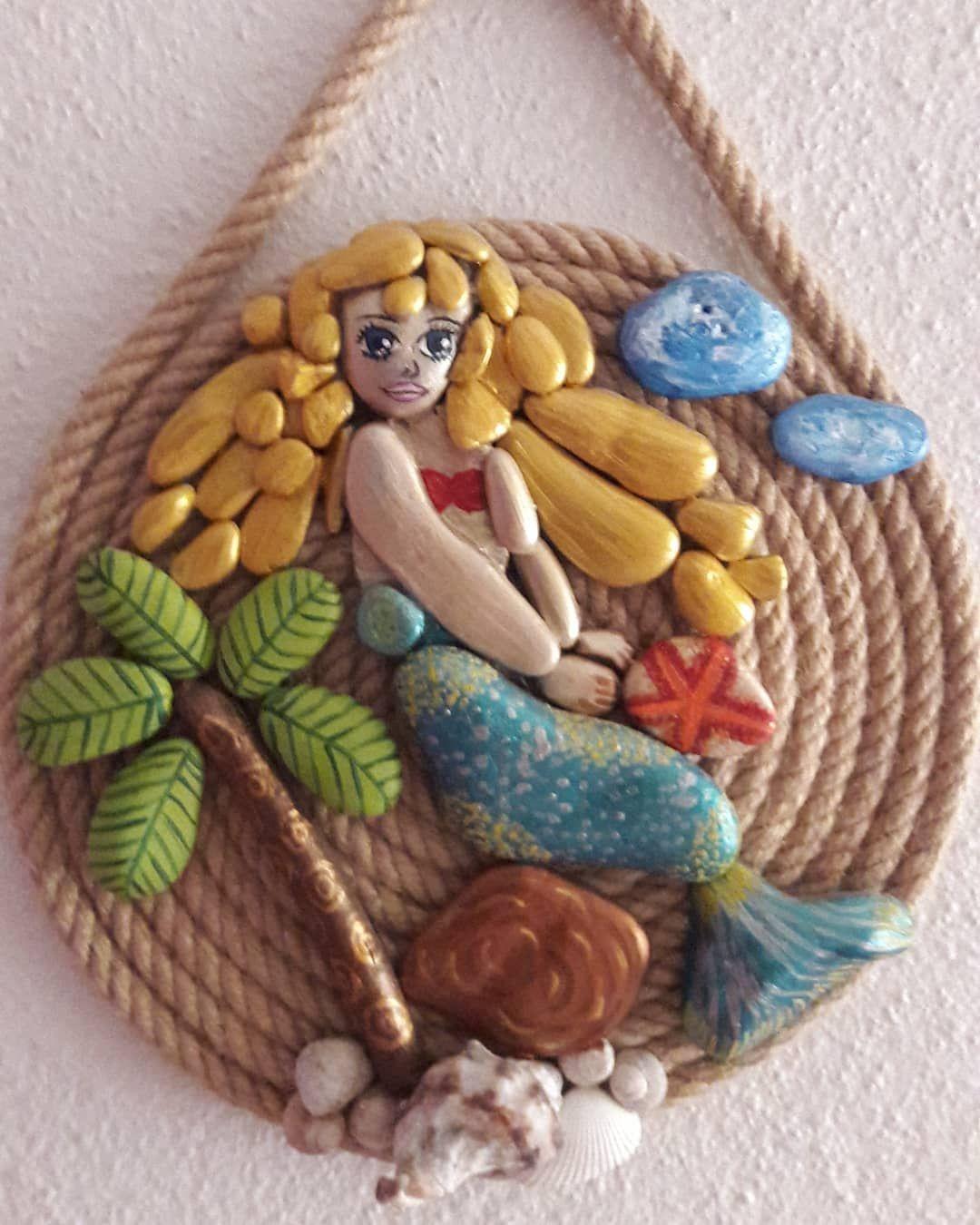 Mermaid Denizkizi Taskatur Tas Boyama Stone Art Paint El Emegi