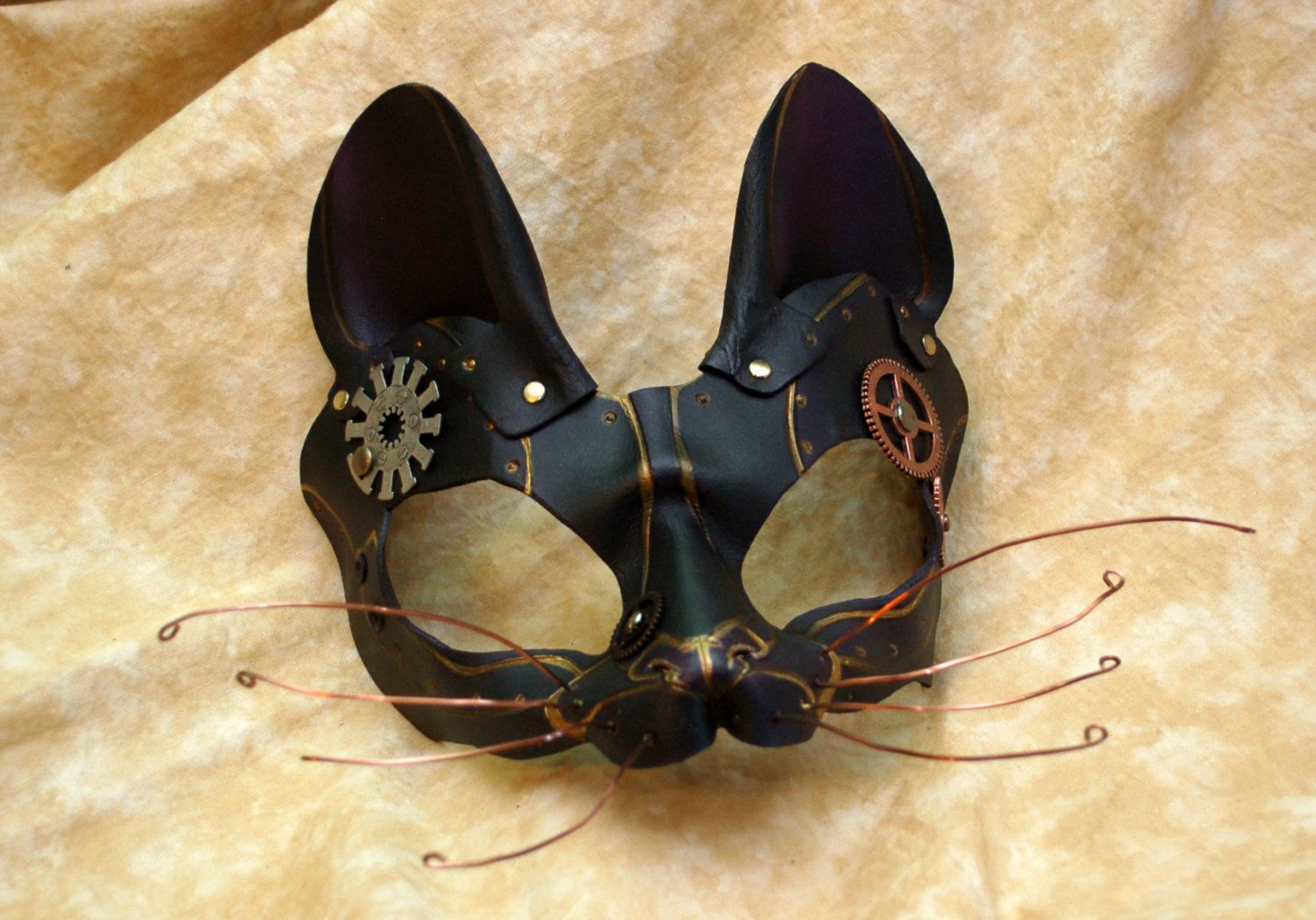 Black and Violet Leather Steampunk Cat Dinah Alice by PlatyMorph