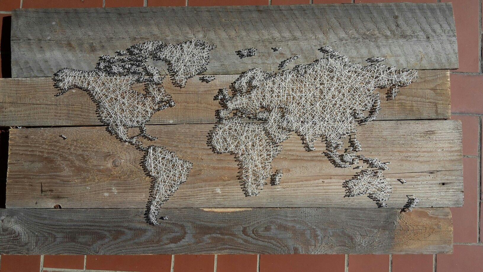 Weltkarte Mit Nägel Und Faden Wohnen Pinterest Vintage World