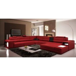 Polaris Dark Red Italian Leather Sectional Sofa Sofa Decor