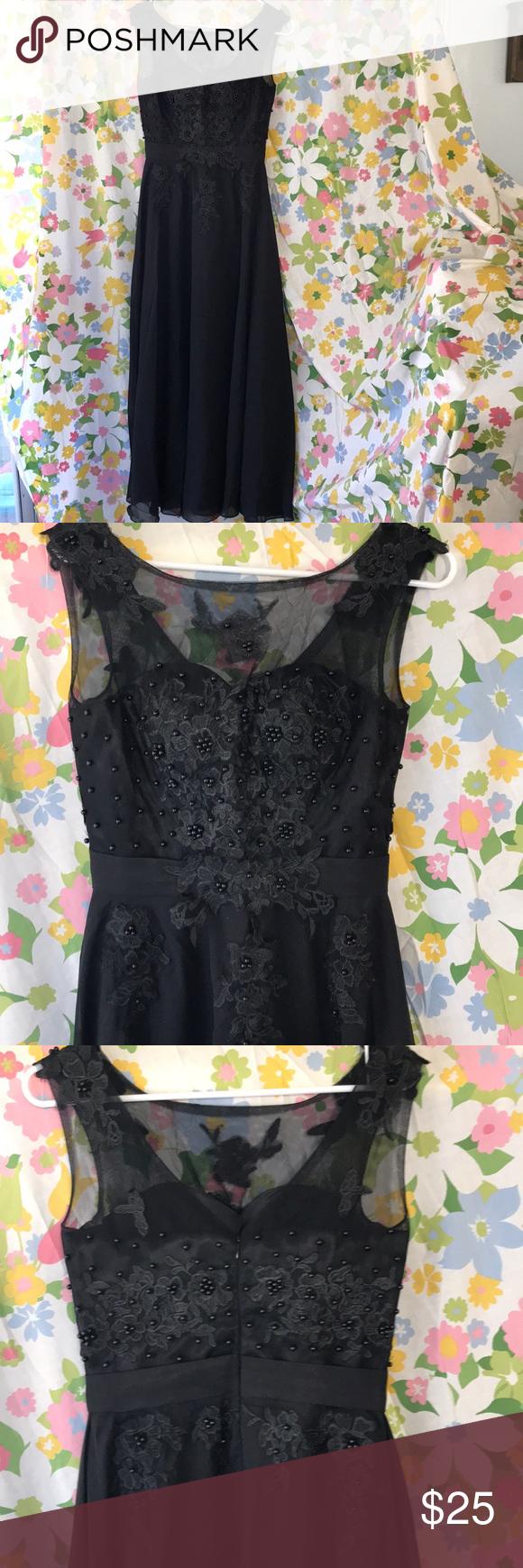 Dinner Dress Black Sheer Beaded Top Size 4 Black Dinner Dress Dinner Dress Clothes Design [ 1740 x 580 Pixel ]