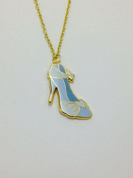 Princess Cinderella Shoe Up-Cycled Disney Trading PINdant Necklace