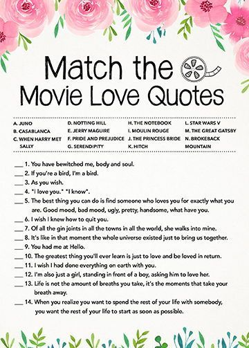 Match the Movie Love Quotes, Bridal Shower Games, Instant Digital Download, Printable Game Cards, Bachelorette Party Games, Pink Themed Game
