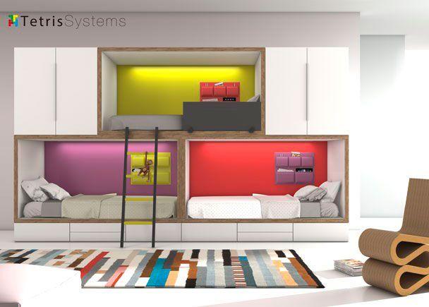 Dormitorio Juvenil Litera Tren 3 Camas Armarios Y Cajones