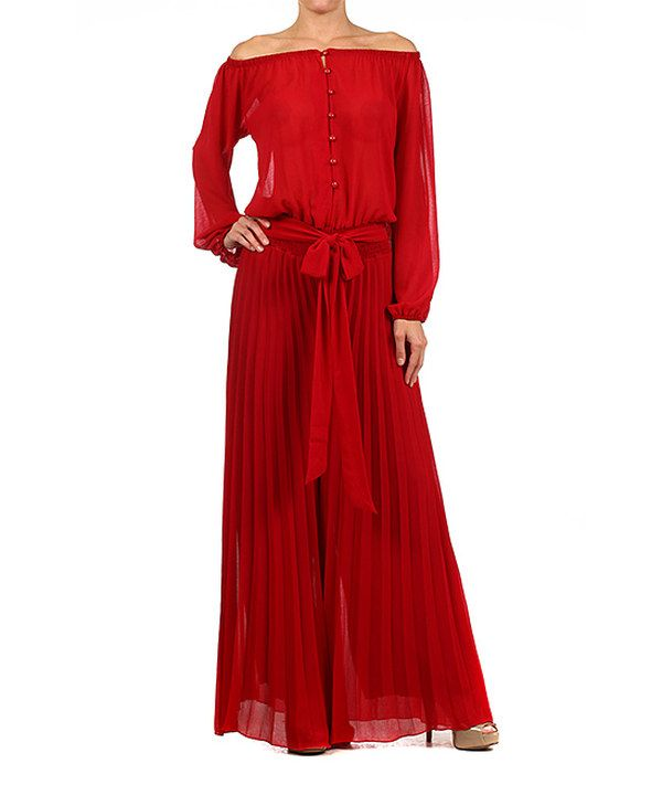 Look at this Karen T. Design Red Accordion Pleat Jumpsuit - Women on #zulily today!