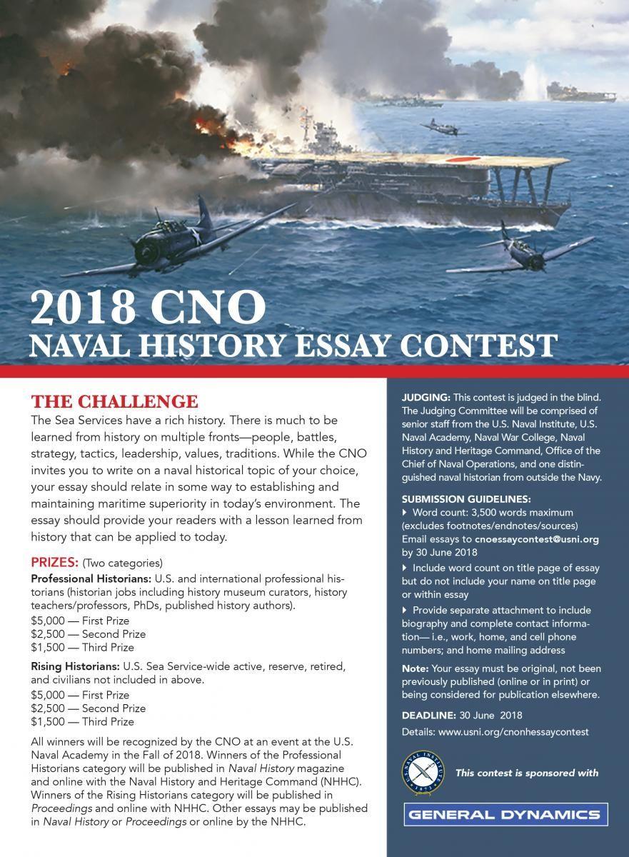 CNO Naval History Essay Contest | U S  Naval Institute | Adam